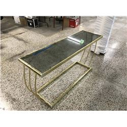 Gold Painted Table With tinted Glass Top