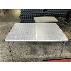 Folding Metal Table With Small Companion Collapsing Table
