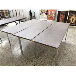 Lot of Wood Topped Tables With Metal Legs (3)