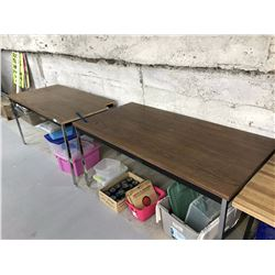 Pair of Metal Legged Tables (One With Cut Out Corner)
