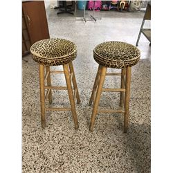 Pair of Leopard Print Stools