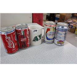 Lot Of Sports Related Cans W/ Roughrider Mug