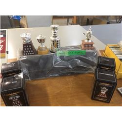 Lot Of NHL Trophy's With Stand