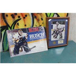 Framed Curtis Joseph Print And Busch Beer Blues Cardboard Ad