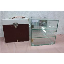 "Hanging Glass Showcase (Missing Latch)(10""x10"") & File Box"