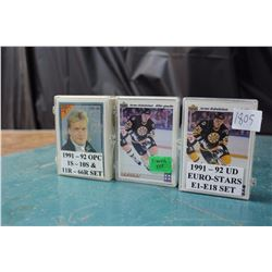 Three Sets Of Hockey Cards (1991–92 OPC, French set, 1991– 92 Euro-Stars)