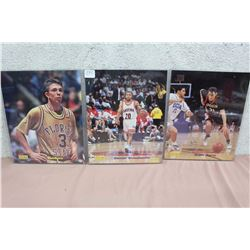 Lot Of College Basketball Signed Prints (3) With Certificates Of Authenticity