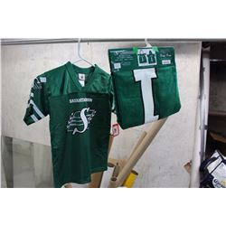 Saskatchewan Roughriders Jersey, New With Tag With Roughriders Hooded Towel