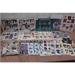 Lot of NHL Commemorative Sheets, Stickers, WHL Player Cards