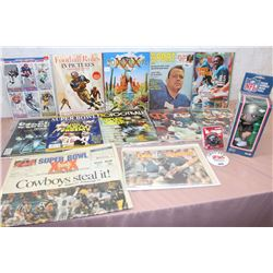 Lot of Assorted Football Literature, With Bobble Head, and Parts