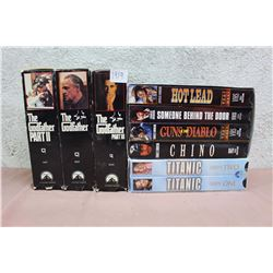 Lot of Classic Movies VHS Collections (Godfather, Titanic, Charles Bronson)