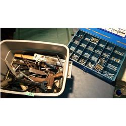 Assorted Hand Tools, & Box Of Bolts