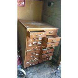 16-Drawer Wooden Cabinet
