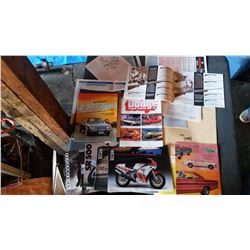 Lot Of Brochures, Pamphlets Of Cars, Guns, Motorcycles