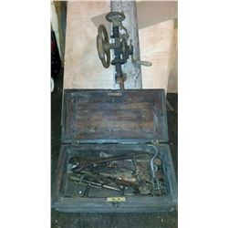 Vintage Tools With Wooden Box