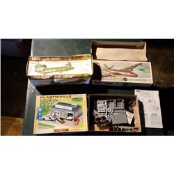 Plasticville Auto Repair Shop, 1 Empty Model Box, 1 Helicopter Model