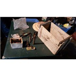Wooden Ammunition Box With Gun Parts & Misc.