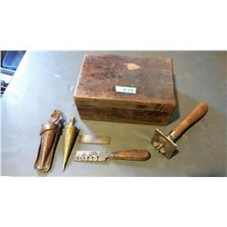 Vintage Hand Tools With Wooden Box