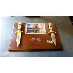 Civil War Knife Set With Plaque With Box