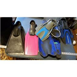 5 Pairs Of Scuba Diving Flippers