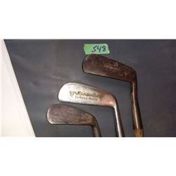 HS Arms Co., Ag Spalding Bros. Dundee Irons (1), G. Cummings Special  3 Golf Clubs With Wooden Shaft