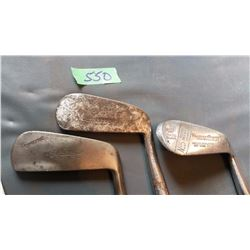 Golf Clubs With Wooden Shafts (3) (Ag Spalding Bros, Wright Ditson, Hillerich & Bradsby #5)