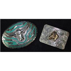 Two Silver Belt Buckles