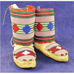Crow Beaded Moccasins and Leggings