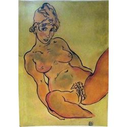 Signed Mixed Media Egon Schiele