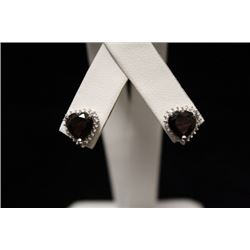 Stunning Garnet Silver Earrings (22M)