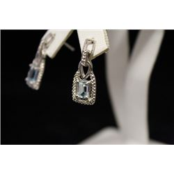 Beautiful Aquamarine & Diamond Earrings (25M)