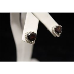Dazzling Lab Ruby Silver Earrings (41M)