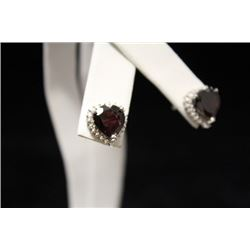 Fancy Garnet & Diamond Silver Earrings (53M)