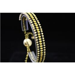 Elegant 14kt Gold over Silver Links London Black & Gold Bracelet (74M)