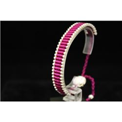 Elegant Links London Magenta Silver Bracelet (83M)