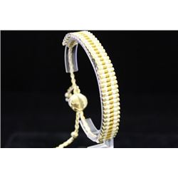 Stunning 14kt Gold Over Silver Links London White & Gold Bracelet (85M)