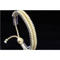 Beautiful 14kt Gold Over Silver Links London White & Gold Bracelet (97M)