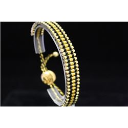 Lavish 14kt Gold over Silver Links London Black & Gold Bracelet (105M)