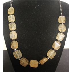 Fancy Citrine & Hematite Necklace (35ZF)