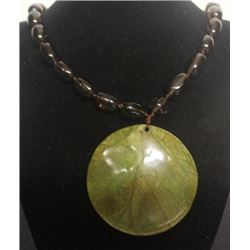 Lady's Smokey Quartz with Green Leaf Pendant Necklace (38ZF)