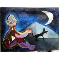 Rufino Tamayo - Boy with Dog 1950 Oil on Canvas