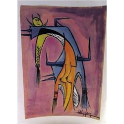 Wilfredo Lam - The Woman Watercolor