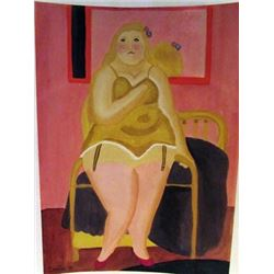 Fernando Botero - Woman in Bed Watercolor
