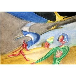 Two boys - Leopold Survage - Pastel on paper