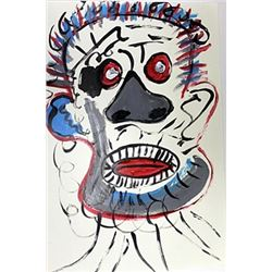 Untitled Acrylic On Paper - Jean Michel Basquiat