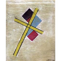 The Cross - Laszlo Moholy Nagy - Pastel On Paper