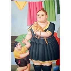 Mujer Con Nino - Fernando Botero - Oil On Canvas