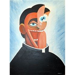 Father Ronal - George Condo - Oil On Canvas