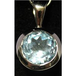Fancy Sterling Silver Lab Nevada Blue Topaz Pendant. (30B)
