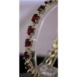 Fancy Sterling Silver Lab Ruby Bracelet. (87B).